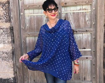 Oversized tunic , blue and white , cotton top , beach cover up , sheer muslin , bandhani tie dye , blue summer resort ,
