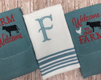 Welcome to our farm kitchen hand towels set - kitchen linens - farm kitchen - farm towel - house warming gift - made to order