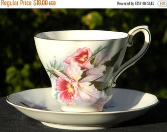 ON SALE Royal Grafton Tea Cup Teacup and Saucer - Pink Orchids - Vintage Bone China 10737