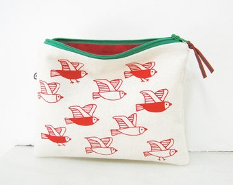 Makeup bag, Cosmetic Bag, Gifts for her Red zipper pouch, Birds print, Jewelry travel bag, Pencil case, Small bags with zip, Bags and Pouch