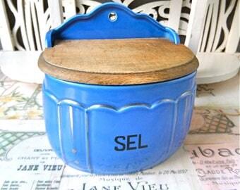 Vintage  French  Blue Faience Cooking Salt Box 1930s/Kitchen decor/Cottage chic