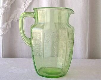 Vintage Vaseline Glass Pitcher Green Depression Glass 1930s