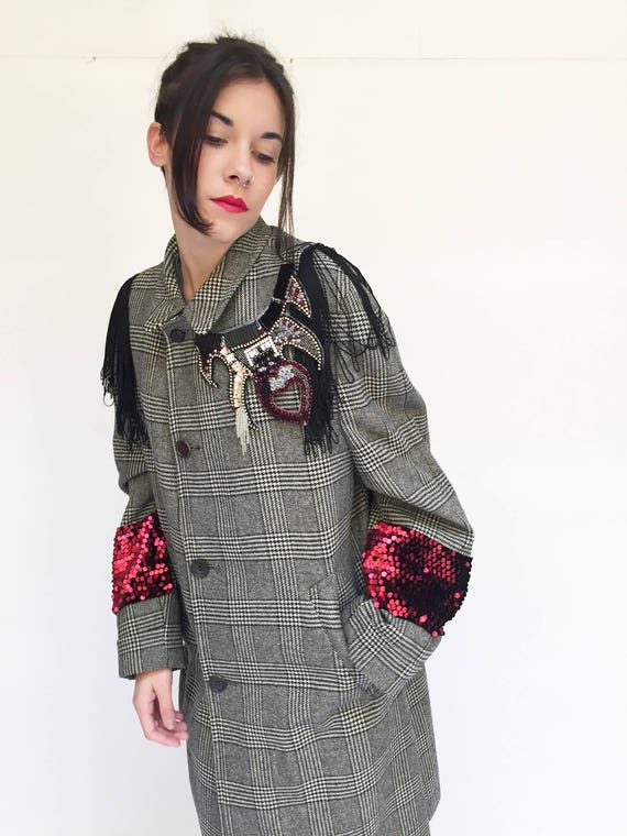 Prince of wales check Coat Overcoat LOLA DARLING Vintage Garment Embroidery and Recycled Fabric Limited Edition Artisanal Made in Italy