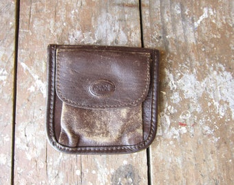 Distressed Leather Coin Purse - Tiny Vintage Wallet