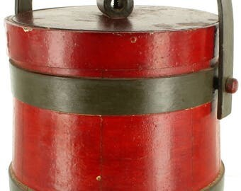 Antique Victorian Primitive Red Wooden Firkin Container Bucket Top Stack 6.5""