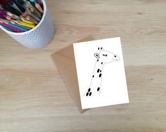 Giraffe Card/Animal Card/Greeting Card/Occasion Card/Illustration/Digital Download/Instant Download/Blank Card/Animal Drawing