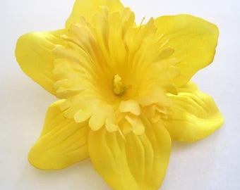 5.5 Yellow Daffodil Poly Silk Flower Hair Clip