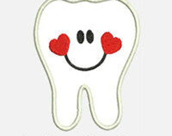 Heart Tooth...Embroidery Applique Design...Three sizes for multiple hoops...Item1430...INSTANT DOWNLOAD