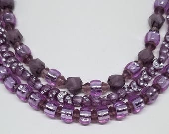 Three Strands of Sparkling Lavender Beaded Handmade Necklace