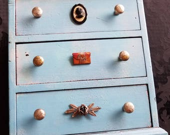 Small Tabletop 3 drawer chest vintage upcycled