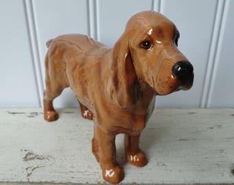 Cocker Spaniel Dog Figurine, Large. Vintage Beswick of England Animal Figure. Horseshoe Primula.