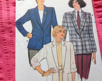 Vintage Butterick Pattern 3066, Unlined Jacket Pattern, Fast and Easy Jacket Pattern, Sizes 12 14 16, 80's Pattern, Uncut Pattern
