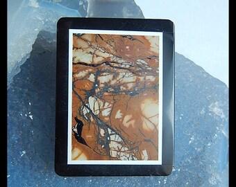 Obsidian,Multi-Color Picasso Jasper Intarsia Pendant Bead,45x34x5mm,21.4g