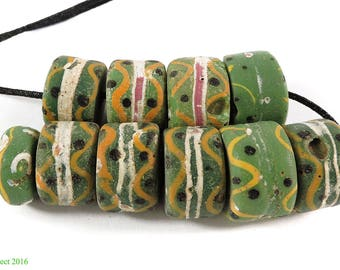 10 Venetian Trade Beads Green Striped Africa Loose 109547