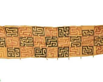 Kuba Raffia Textile Handwoven Strip Congo African Art 11 Feet 106826