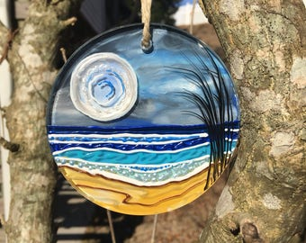 Hand painted moonscape ornament