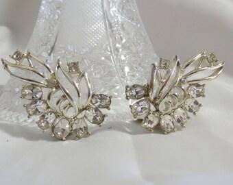 Large Sweeping Rhinestone Crystal Clip on Earrings