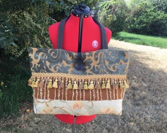 Multi-Purpose Patchwork Tapesty and Velvet Tote Bag