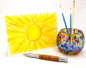 Sun Watercolor Original Art Greeting Card, All Occasion Card, Yellow Sun Wall Art, Tabletop Desk Art