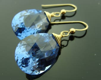 14k Solid Yellow Gold London Blue Topaz Fancy Cut Earrings