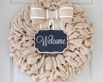 Welcome Sign for Front Door Decor, Summer burlap wreath ideas, Summer Door Wreath, Changeable Wreath for all Seasons - Interchangeable