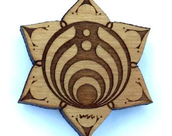 Bassdrop Lotus Flower - Wooden Engraved Hat Pin