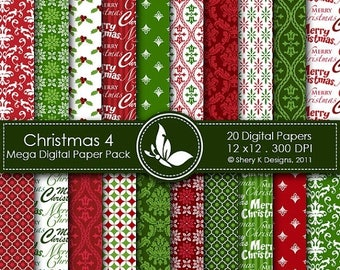 40% off Christmas 4 Mega Paper Pack - 20 Printable Digital papers - 12 x12 - 300 DPI ////// 4