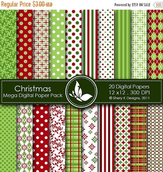40% off Christmas Mega Paper Pack - 20 Printable Digital scrapbooking papers - 12 x12 - 300 DPI