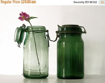 1 antique Green french canning jar ,DURFOR , large Size, french country decor, green glass