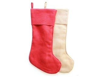 Red Stocking or Natural Stocking SET of two . rustic christmas stocking . burlap christmas decor . burlap stocking set
