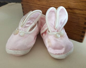 Baby girl pink satin tiny Easter bunny slippers doll clothes