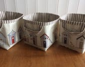 Custom listing 3 small storage baskets in Fryetts Beach Hut Print Oilcloth