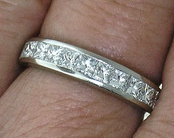 DIAMOND WEDDING BAND~Platinum Princess Cut Diamond Half Eternity Band