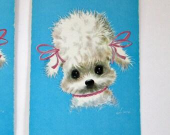 Vintage POODLE Miniature Arrco Junior Playing Cards Blue Poodle Dog Game