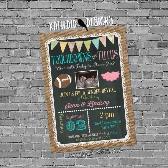 sonogram pregnancy announcement touchdowns or tutus gender reveal surprise gender burlap lace invite rustic chic gay 1431c Katiedid Designs