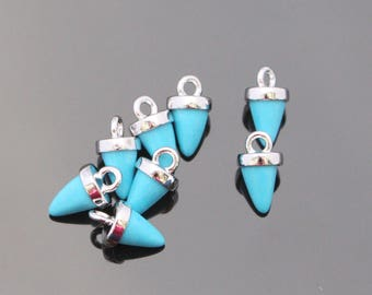 Jewelry Supplies, Pointed Bail Setting Mint Charm with loop, teardrop glass gemstone charm, 2 pc,KA915055