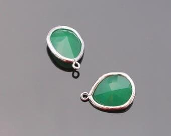 Jewelry Making Supplies, Silver PGO Pendant, Light Green Glass Stone connector,  Gemstone Bead Pendant, 2 pc, JW8227