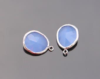 Jewelry Making Supplies, Silver Ice Blue Teardrop Crystal Pendant, Light Blue Glass Stone connector, Gemstone Bead Pendant, 2 pc, JW8227