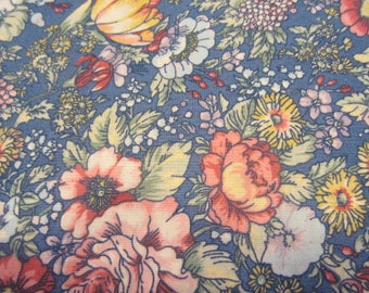 Country Floral Print, Flowers on a Blue background