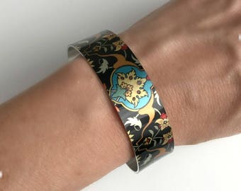 Tattoo Print Cuff Bracelet, wide silver aluminum adjustable boho bohemian bangle stacking black bright colorful birthday gift gifts for her