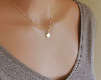 Simple Small Gold Disc Necklace, Minimal Layering Necklace, Initial Necklace, Monogram Coin Necklace, 14k GF, RG, S/S, 9MM