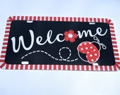 Lady Wreath Sign, Wreath Attachment, Aluminum wreath sign, metal wreath sign, Lady Bug Welcome Sign