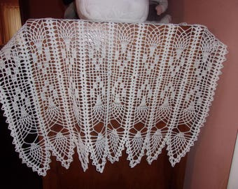 White Rectangle Table Runner, Pineapple Design, 44 x 24 inches