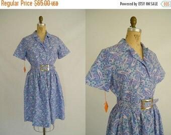 20% OFF SALE Vintage 1950s Cotton Dress / Purple Paisley / Tags Attached