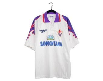 Vintage Reebok Sammontana ACF Italy Football Gelati All'Italiana Purple & White Soccer / Football Jersey, Made in Italy - Large
