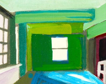 interior perspective,original acrylic painting on stretched canvas, 12 x 16 inches, room interior painting, architecture, green room, sun