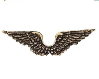 SALE 30% OFF Ox Antiqued Brass Stamping Joined Small Bird Wing Qty 1 Heirloom Quality for Jewelry Making Made in the USA Dr Brassy Steampunk