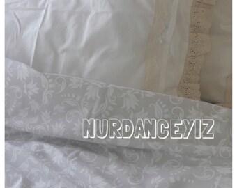 Duvet cover oversized Queen 90x98 super King 110x96 120x98 shabby chic Bedding pastel subtle gray cream Floral Turkish cotton Nurdanceyiz