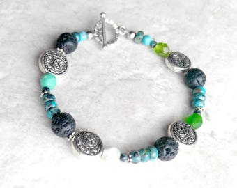 Essential oil diffuser, Bracelet, turquoise bracelet, blue and green, lava bead bracelet, mothers day gift, gift for her, boho chic style