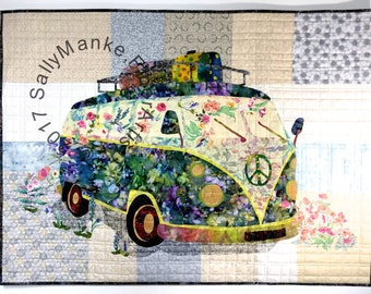 VW Van Art Quilt - Flower Child Quilted Wall Hanging - Vintage Peace Van - Former Hippie Bus Wall Decor - Vintage Fiber Art - Antique Auto